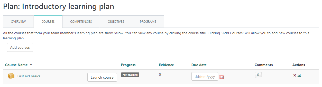 Blog example learning plan courses