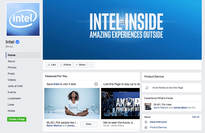 Blog integrated marketing - Intel-facebook-pages example