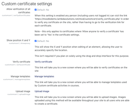 custom certificate settings