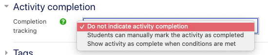 activity completion tracking