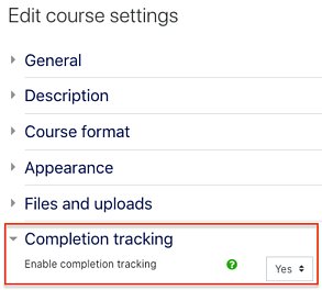 completion tracking in course settings2