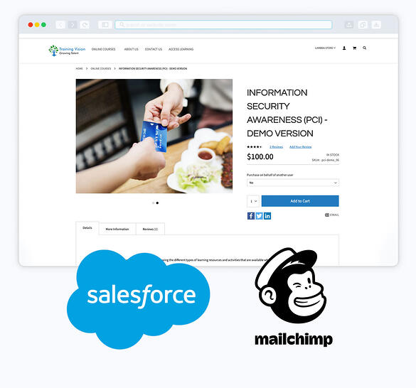 image lambda store integrated with Salesforce and MailChimp screenshot of a store page