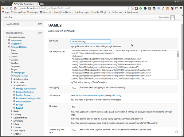 image Moodle Plugin - SAML2 SSO Administration Plugins Authentication Settings screenshot