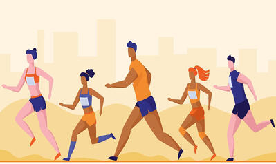 blog self paced learning - analogy athletes running towards the goals