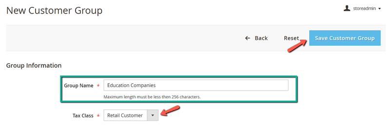 image screenshot creating new customer group