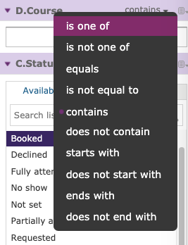 image screenshot filter selections in lambda analytics