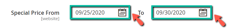 image screenshot set up special price date range