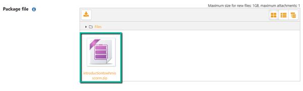 image screenshot upload SCORM zip files