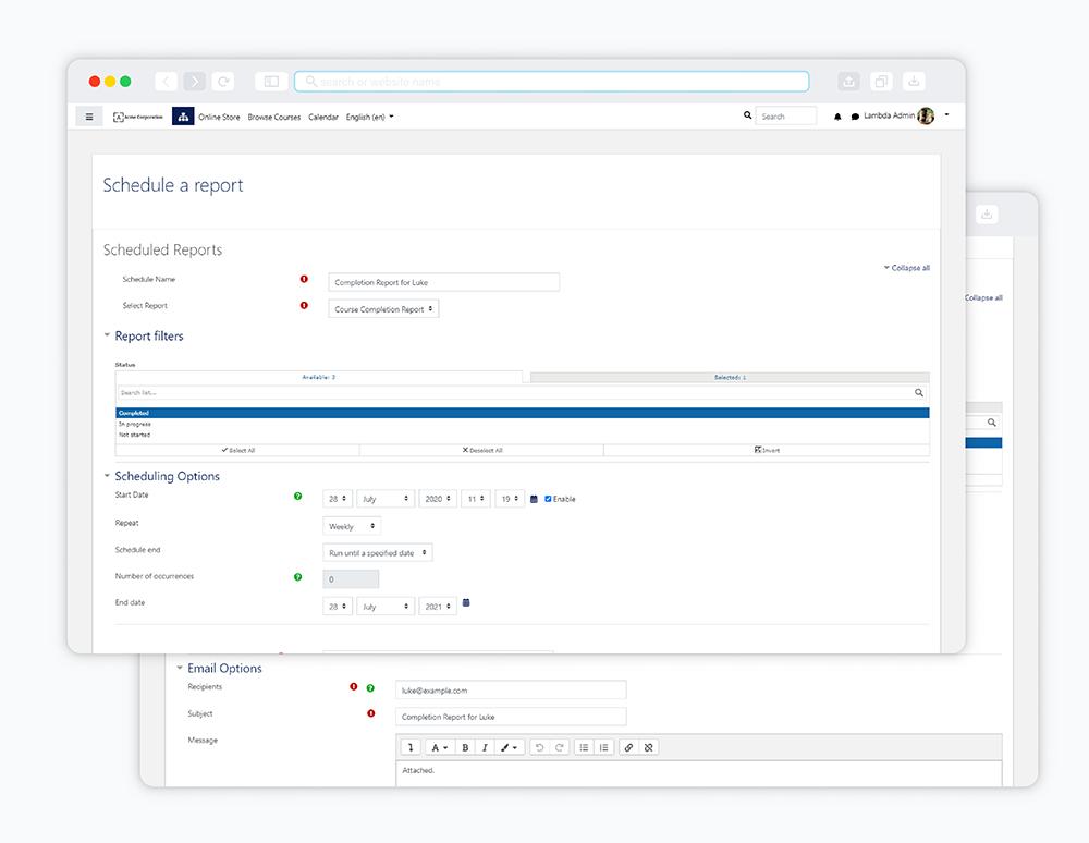 image lambda analytics scheduler automation settings screenshots